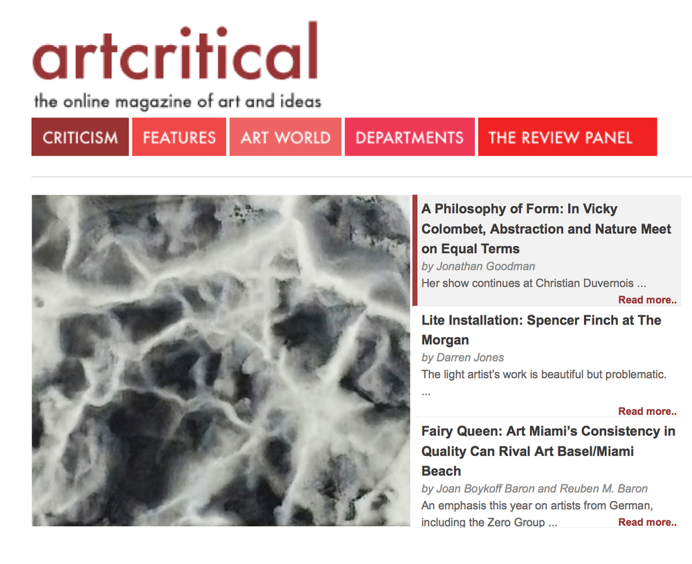 artcritical review , Jonathan Goodman, December 2014