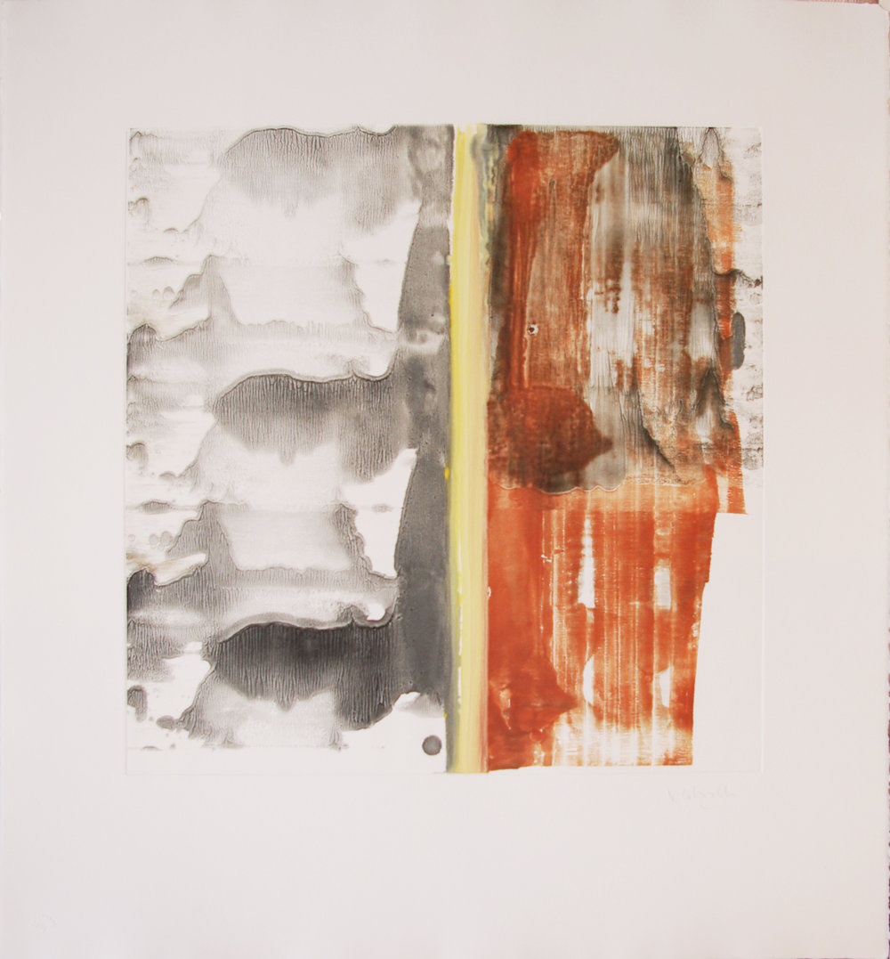 Vicky Colombet Maps I /Monotype on Arches Paper 2003 Image:15 3/4x15 3/4 Paper: 22 1/4 x 23 3/4