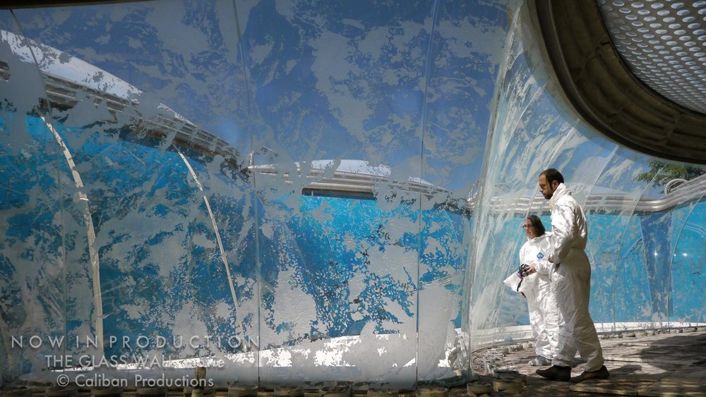In her major architectural project work, the sandblasted curved glass wall of Villa Nurbs (150 x 12 feet) (Spain)