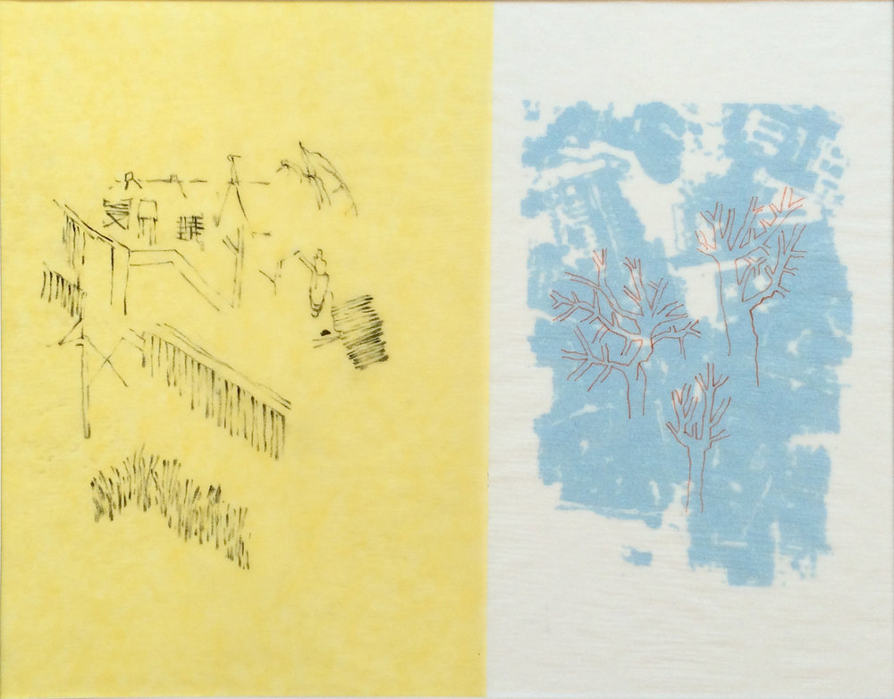 """Très Riches Heures- April/January""  2015  Charcoal on Yellow tracing paper, digital print on vellum and Indian ink on silk paper  Dimension: 8""1/4 x 10""1/2 / 21 x 27 cm"