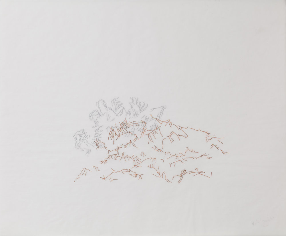 """Brume #3"" Double Drawings Indian ink on tracing paper  Dimension: 14 x 17 inches"