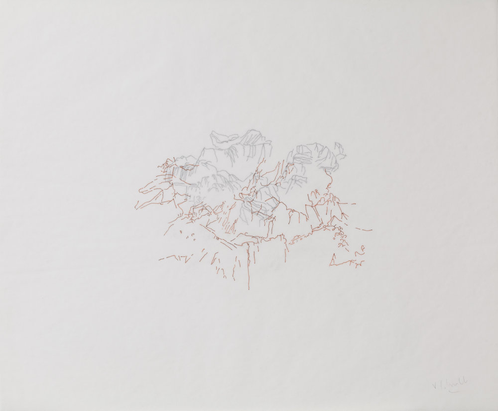 """Brume #5"" Double Drawings Indian ink on tracing paper  Dimension: 14 x 17 inches"