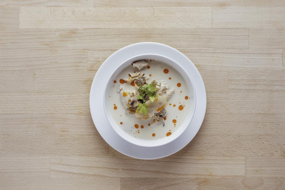 THAI COCONUT GALANGAL MUSHROOM & CHICKEN SOUP