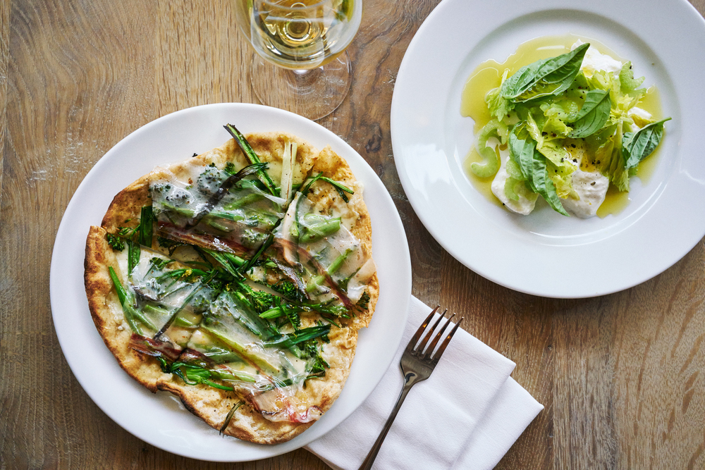 Pizzetta with wild onions, Fontina and arugula & Mozzarella di bufala with celery and olio verde (Please credit Marcus Nilsson).jpg