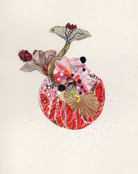"""Sea Pomegranate"" ink and found collage on paper"
