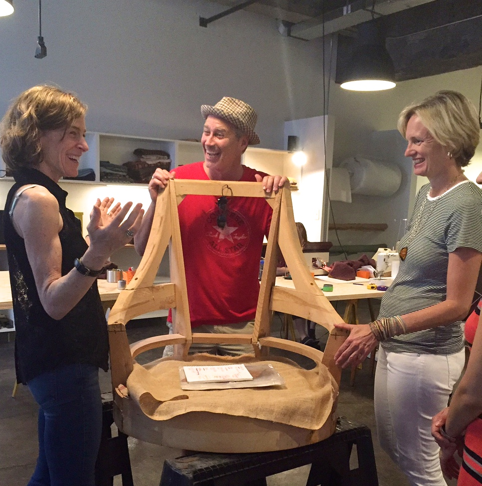 Melissa, Trey Riley and Barbara McLaughlin discuss process at the recent Open Studio