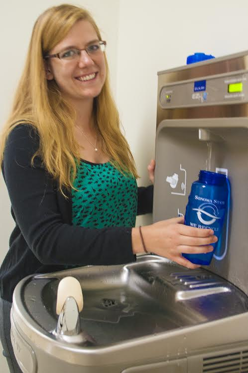STAR // SSU NewsCenter   Sustainability Senator Allison Jenks encourages students to use refillable wear bottles.