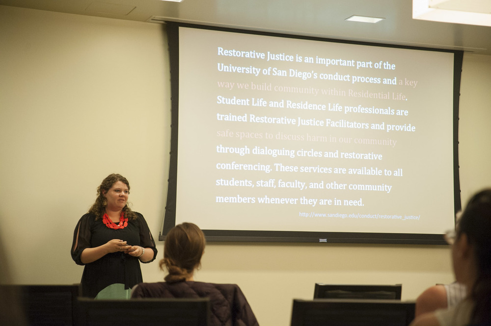 STAR // Connor Gibson   Student Lauren Dillier presents a psychology's class plan to implement Restorative Justice on campus.
