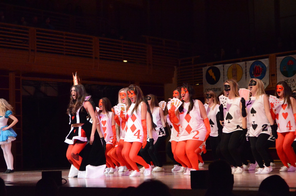 STAR // Cara Fuqua Lip Jam winner Alpha Xi Delta stole the show with a perfect interpretation of an 'Alice in Wonderland' theme.