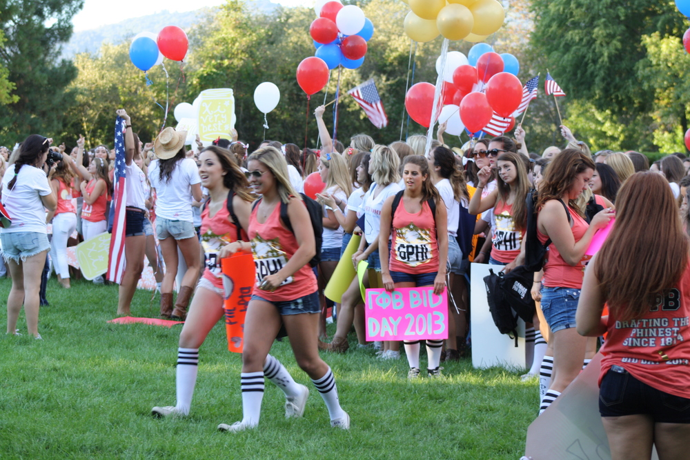 "STAR // Katie McDonagh Over the weekend, panhellenic sororities conducted  ""formal recruitment"" to find and place bids for new members to join their sisterhoods. Traditionally held at the beginning of the fall semester, interested women register to participate in recruitment prior to the event. Over the course of the weekend, participants walk around campus with Rho Gammas (women who have disaffiliated from their sisterhoods in order to objectively lead new members) and attend parties held by each sorority to get to know its members. At the end of the weekend, many of the women receive bids to join sororities, and Rho Gammas return to their sisterhoods after having been away from it over the summer. The panhellenic sororities this year were: Alpha Delta Pi, Alpha Gamma Delta, Alpha Omicron Pi, Alpha Xi Delta, Gamma Phi Beta and Phi Sigma Sigma. According to sonoma.edu, approximately 19 percent of Sonoma State students belong to a sorority or fraternity."