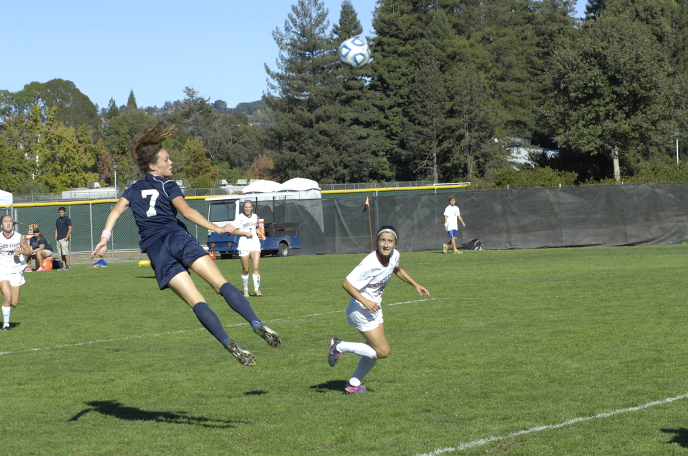 COURTESY // Chris Curtin No. 7, Seawolf Lauren Curtin, scores the winning goal at the 48:24 mark, helping defeat rival Chico State 1-0 on Sunday.