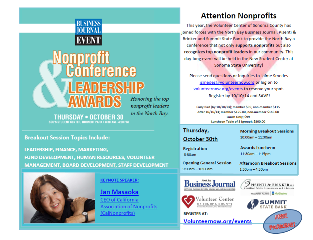 facebook.com   Next Thursday, Sonoma State University will host the Nonprofit Conference and Leadership Awards with keynote speaker Jan Masaoka nonprofit leaders of the North Bay.