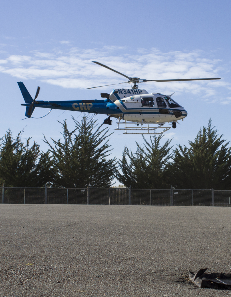 STAR // Gustavo Vasquez California Highway Patrol Helicopter landing at the Sonoma County fair grounds, in Santa Rosa for the health and safety fair.
