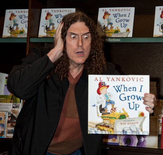 "monstersandcritics.com   ""Weird Al"" looks flabbergasted that he is the author of a Dr. Seuss-esque children's book, ""When I Grow Up."""
