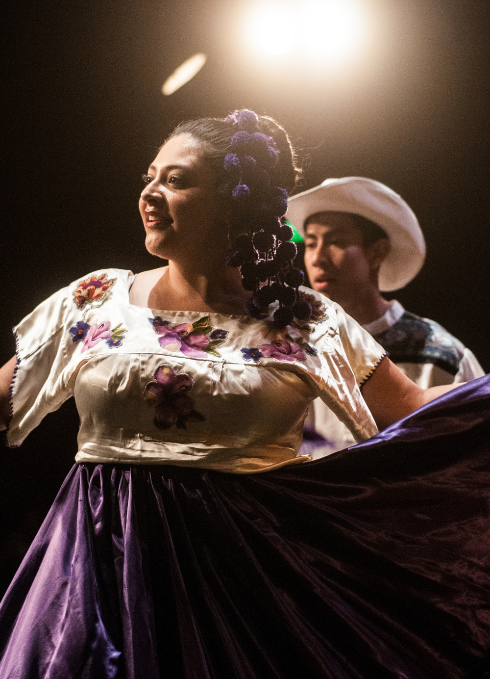 STAR // Gustavo Vasquez  Jacqueline gonzalez and misael espinoza, both a part of the ballet folklorico de sonoma club on campus, performing a dance during the 26th Annual Fuentes Academic Workshop at Sonoma State, on Saturday, March. 7, 2015 in ives 101.