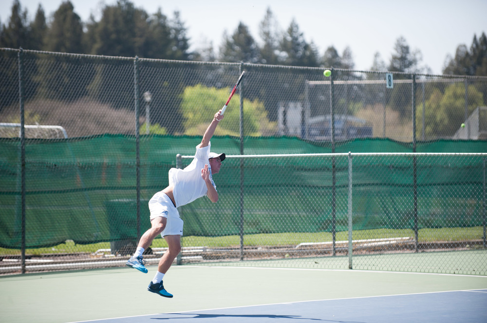 STAR // Connor Gibson   The tennis responded from their doubles losses with three singles wins that tied the match up at 3-3.