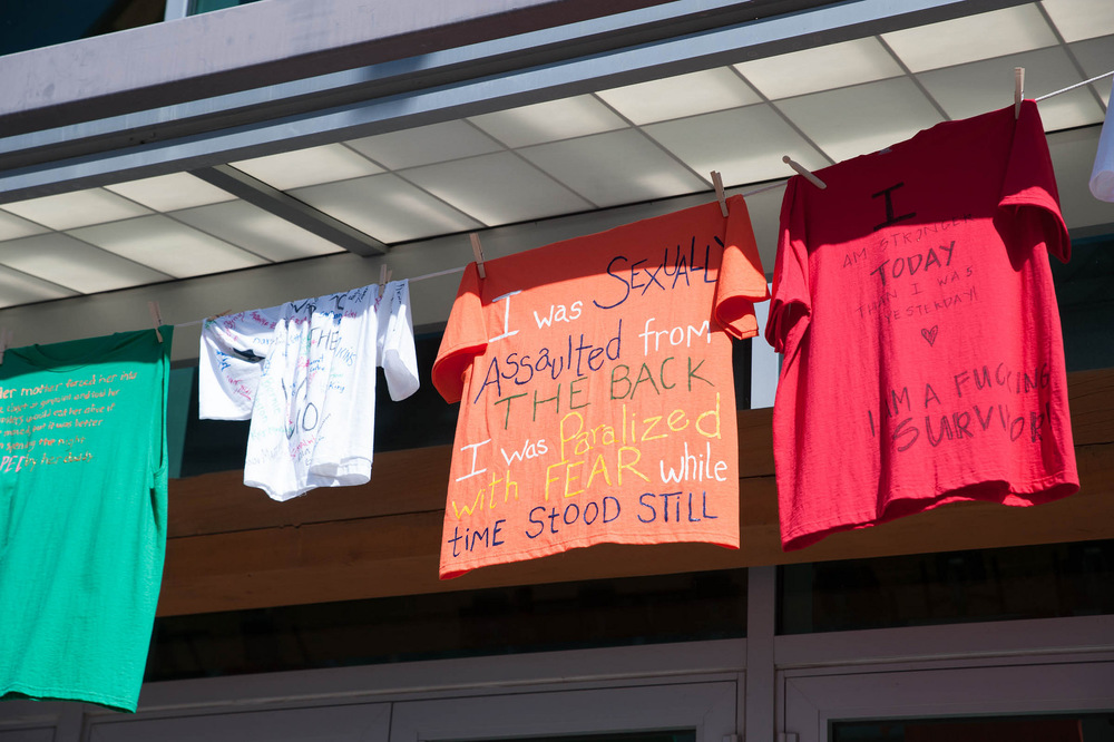 STAR // Connor Gibson   T-shirts, known as the Clothesline Project, hang at both the Student Center and Salazar Plaza at Sonoma State University. April is Sexual Assault Awareness Month and the T-shirts were made by student survivors of sexual assault over the past 10 years. This month, the Counseling and Psychological Services department will be putting on events to educate and spread awareness about the issue of sexual assault.
