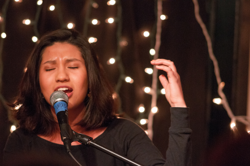"STAR // Gustavo Vasquez Student poet Dulce María Preciado, one of 10 poets who read their published works at the gala, passionately recites her poem ""America."""