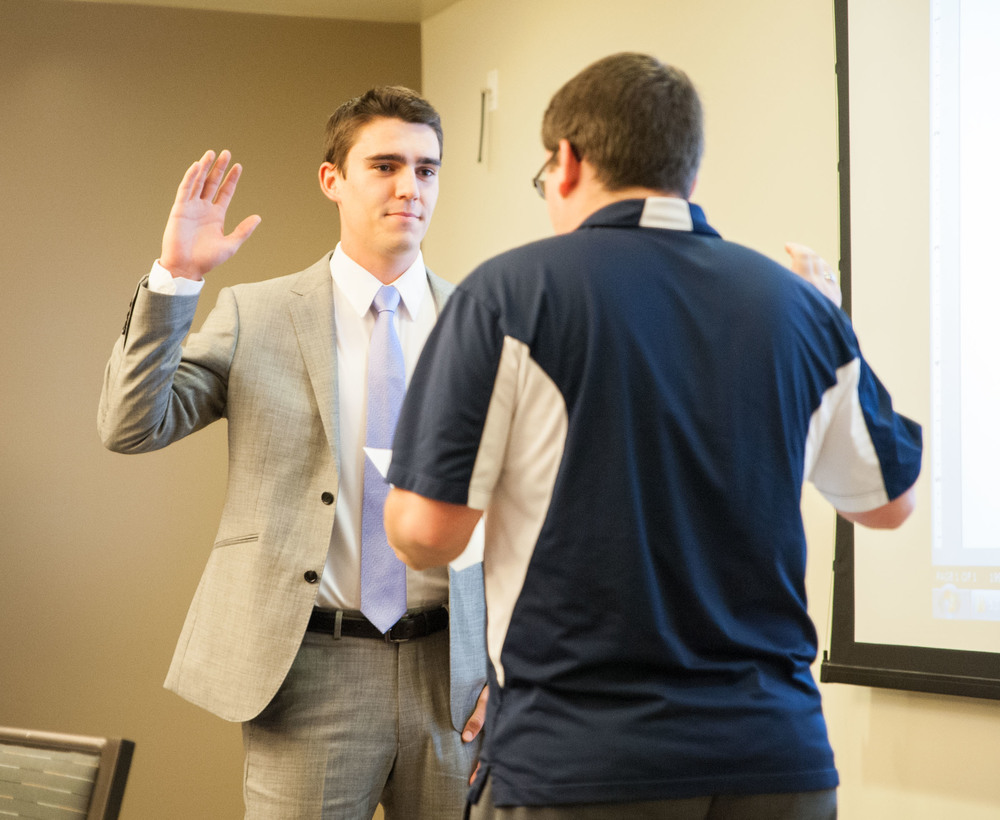 STAR // Connor Gibson    Sonoma State University's Associated Students swore in new officers for the 2015-16 year, including Brandon Mercer as Associated Students president on Friday.