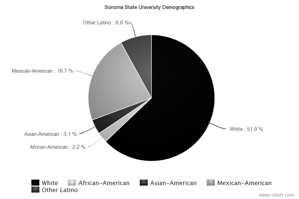 STAR // Kayla E. Galloway According to the California State University, Latino and Mexican-American individuals make up 25.3 percent of Sonoma State University's demographics as of fall 2014.