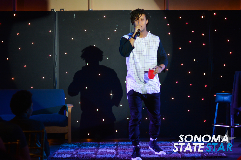 Christian Pierce introduced Jimmy Tatro at the SOMO Village last Friday. (Thomas Lynch // Sonoma State STAR)