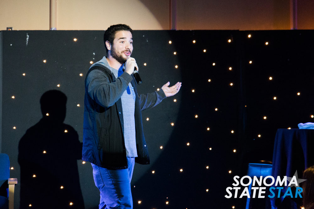 Comedian Kyle Keating performed at the SOMO Village last Friday. (Brennan Chin // Sonoma State STAR)