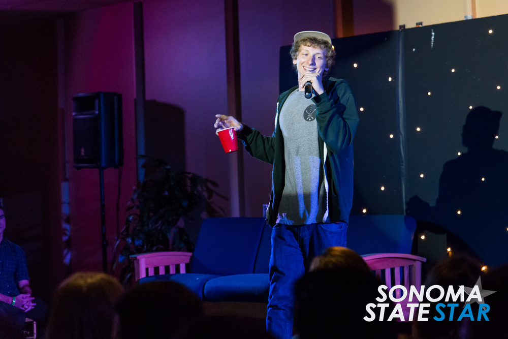 Comedian Chris Ferdinandson performed at the SOMO Village last Friday. (Brennan Chin // Sonoma State STAR)
