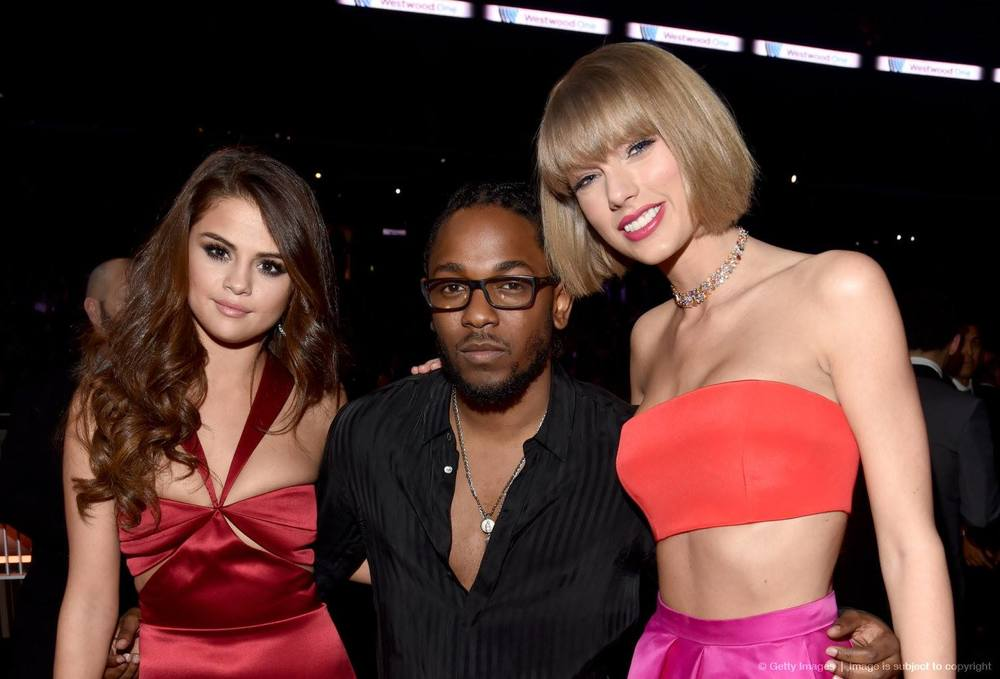 facebook.com Selena Gomez, Kendrick Lamar and Taylor Swift pose together at the 2016 Grammy Awards.