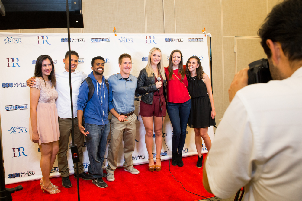 STAR // Brennan Chin  Members of SSUTV  pose on the red carpet at Cinenoma 2016.