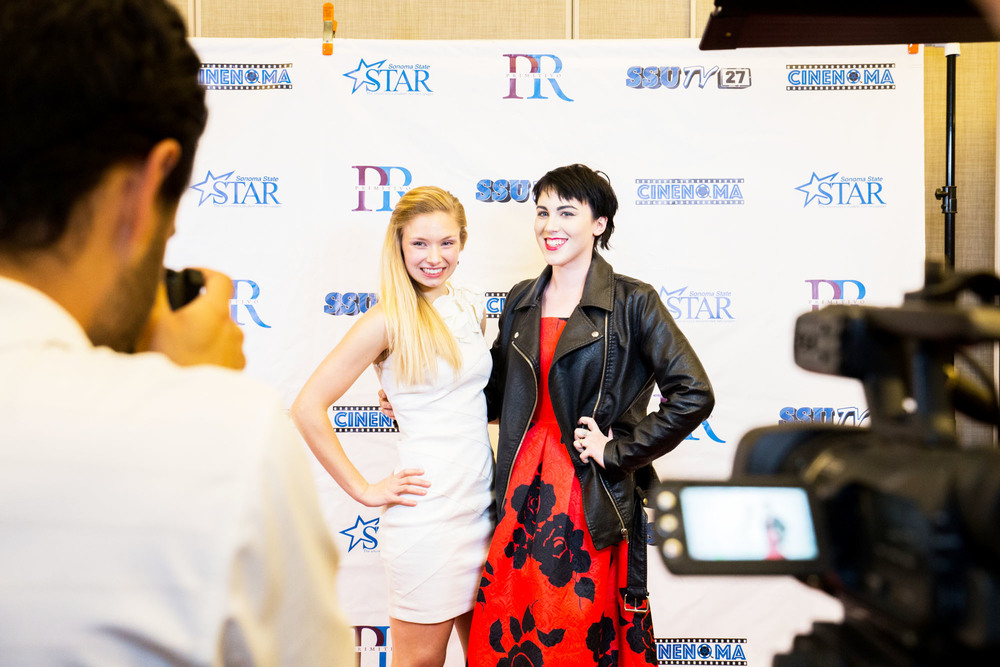 STAR // Brennan Chin Actress and filmmaker Bria Gabor (left) poses on the Cinenoma 2016 red carpet.