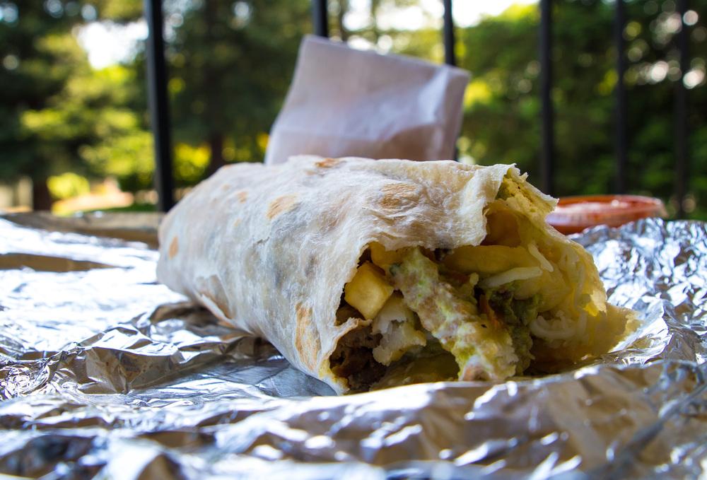STAR // Brandon Stachnik El Rancho's California Burrito includes carne asada, cheese, sour cream, guacamole, spicy salso and crispy french fries.