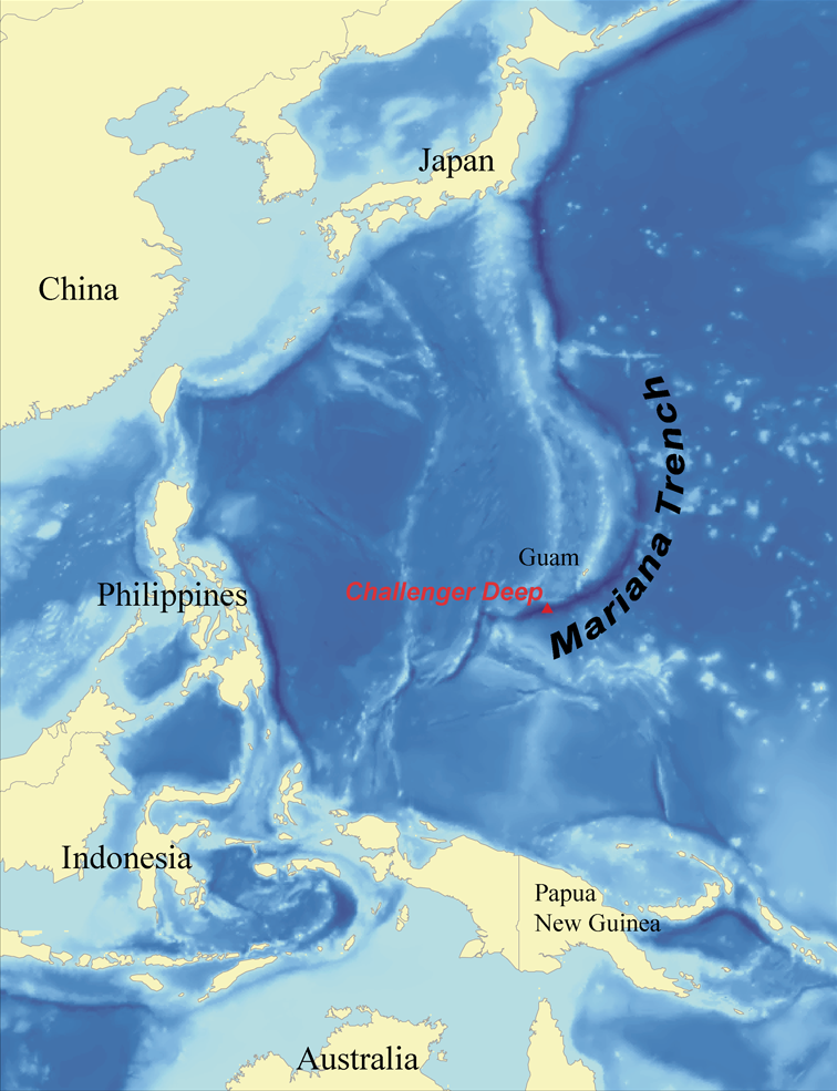 Location of the Mariana Trench.  Image // Wikipedia.org