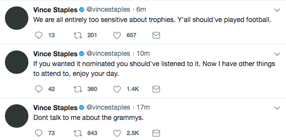 Vince Staples took to twitter the morning of nomination reveals to express his thoughts.