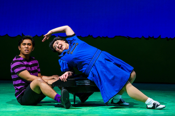 Lucy, played by Anna Leach, and Schroeder, played by Brandon Mate, dance around the stage during a musical number. (COURTESY// James Wirth