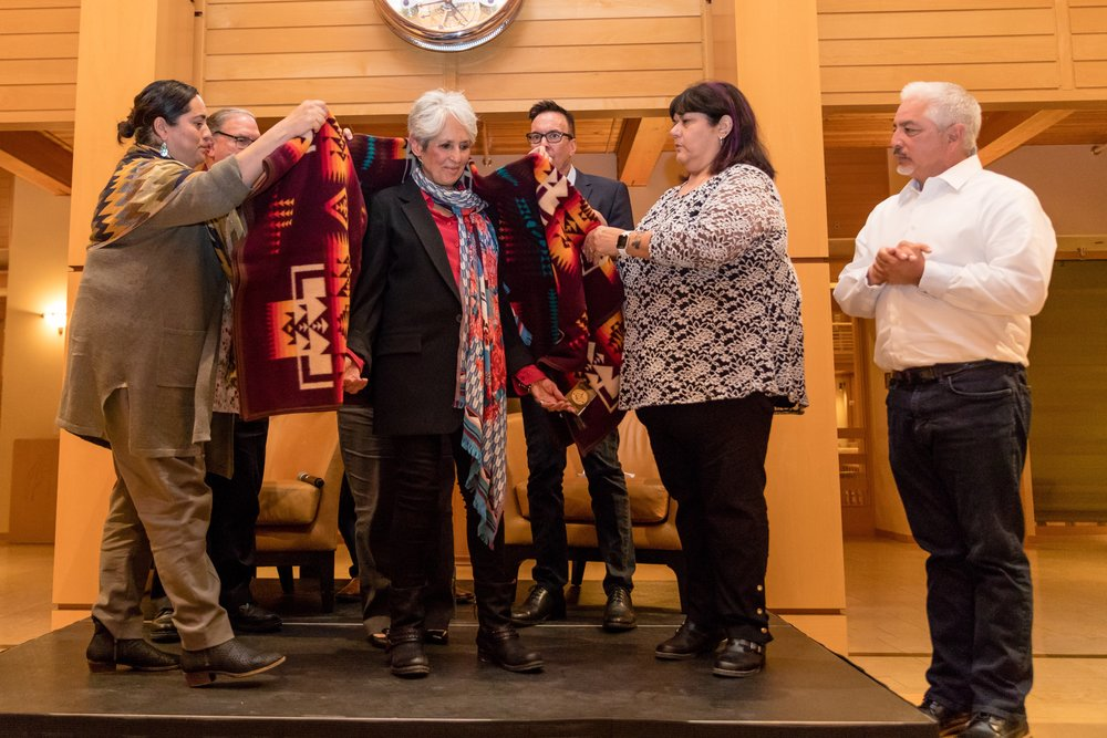 Tribal Council members of the Federated Indians of Graton Rancheria honor Joan Baez and her work on April 15 at the Green Music Center.