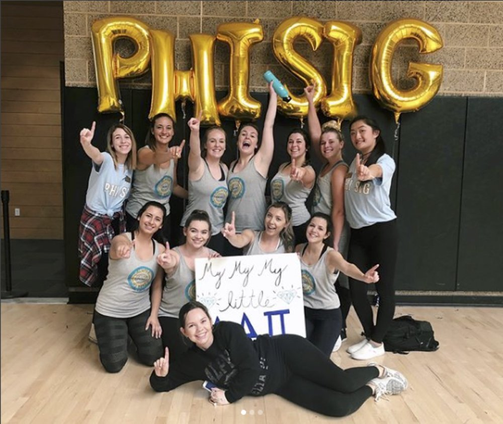 First place winners Alpha Delta Pi poses with members of Phi Sigma Sigma at their annual dodgeball tournament on April 22.  Courtesy // Alpha Delta Pi