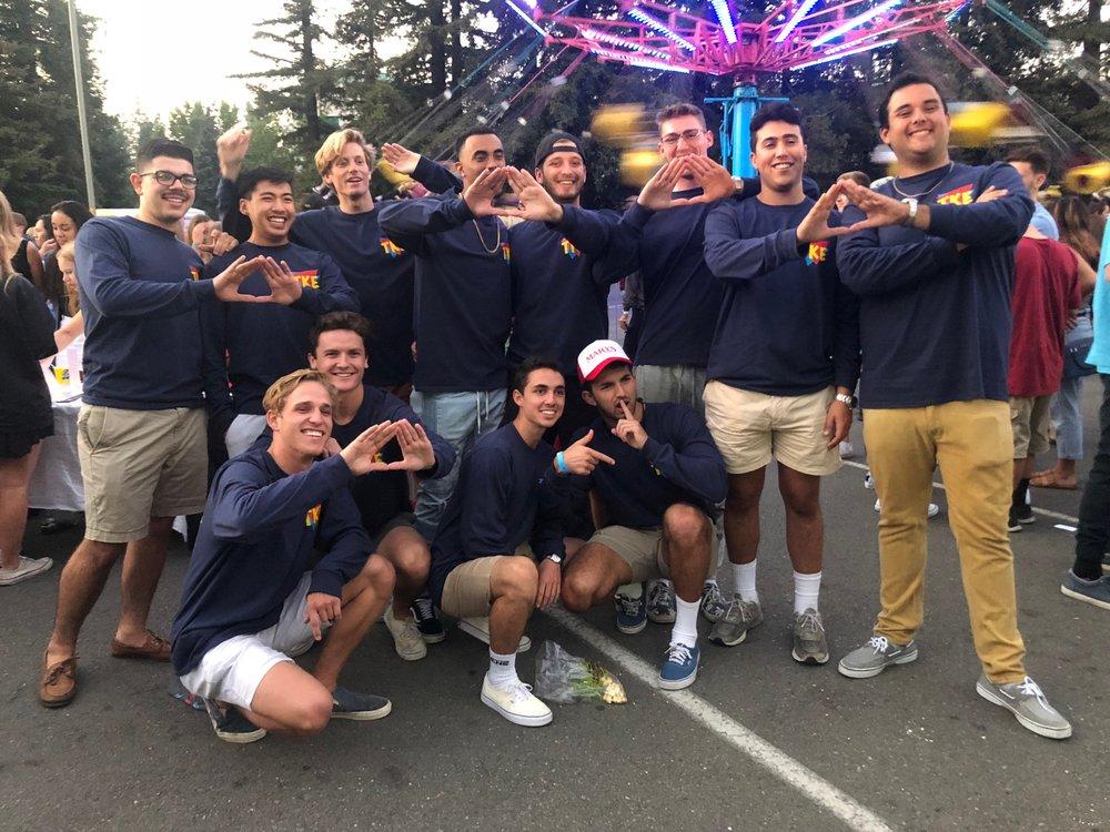COURTESY // SSU TKE   Members of Sonoma State's Tau Kappa Epsilon fraternity at Big Nite in 2018.
