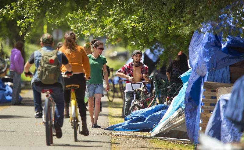 Homeless in a large encampment along the Joe Radota Trail in Roseland received a two-day reprieve to evacuate the area by local law enforcement last July.
