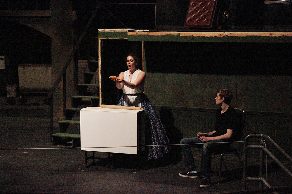 Rachel Levin as Mrs. Lovett and Noah Evans as Sweeney Todd rehearsing last Thursday evening.