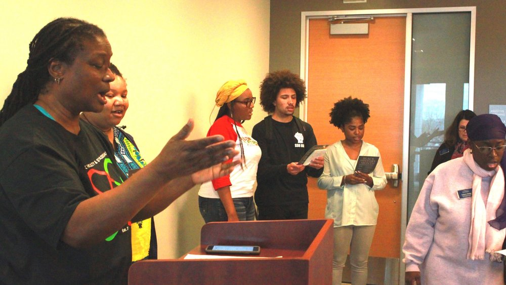 STAR // Jessica Rivera   Sonoma State's Black Student Union members sing the Black National Anthem during the Black History Month opening ceremony on Friday, Feb. 1, 2019