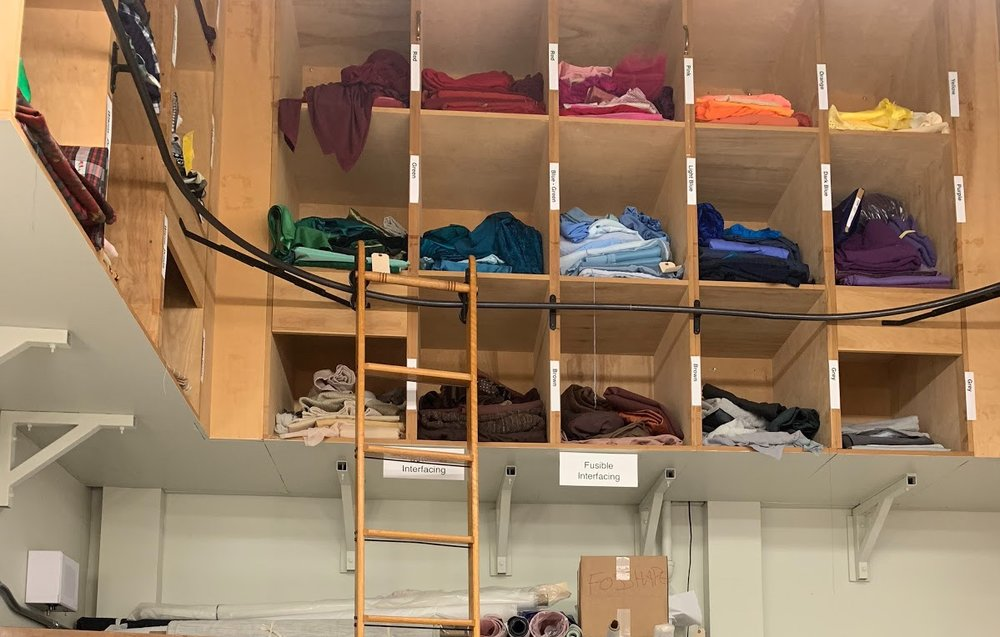 The costuming department, located on the bottom floor of Person Theatre.