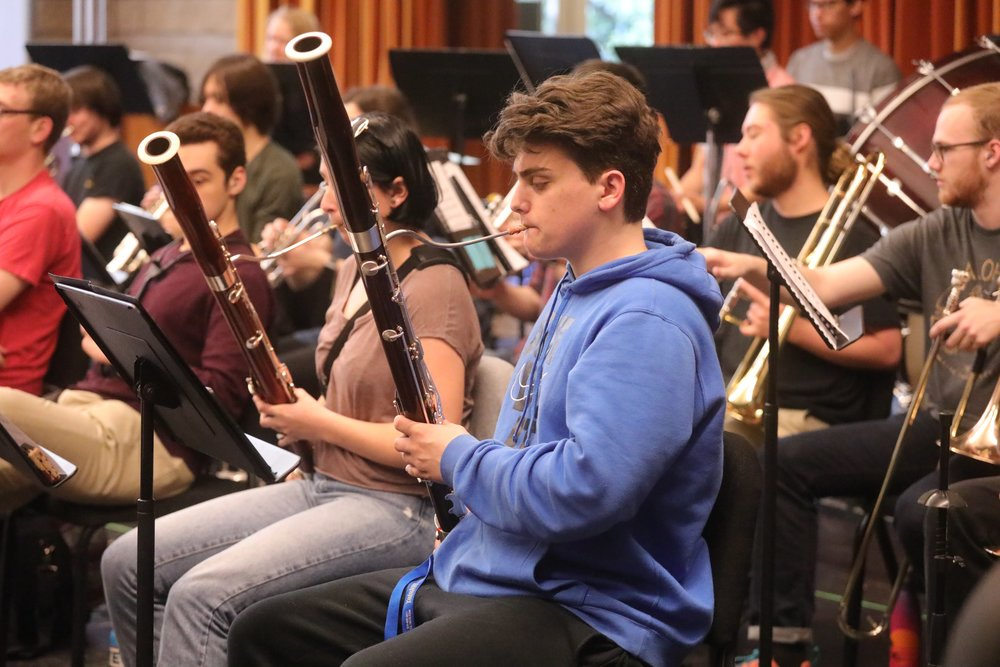 """Bassoonist Stephen Fratallone rehearsing with the Sonoma State University Symphonic Orchestra for this Sunday's concert """"Picture This!"""" STAR // Kayla Allen"""
