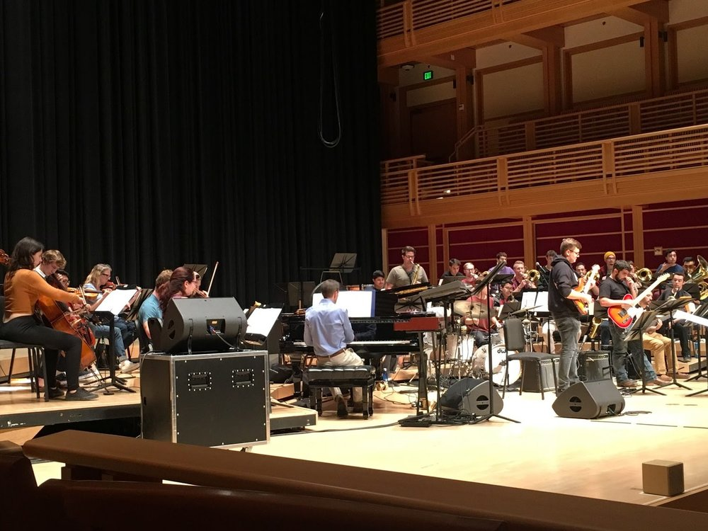 "Sonoma State University Jazz Orchestra rehearsing Fall semester for ""Rock, Strings & Horns - A Concert For Violet."" STAR // Alison Snider"
