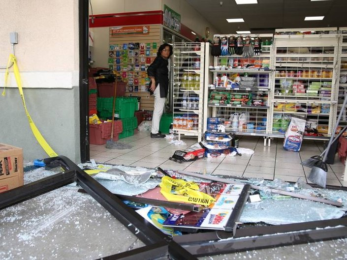 The student was not driving abnormally fast, according to witnesses, but did not stop in time and crashed through one of the storefront windows at 7-Eleven.