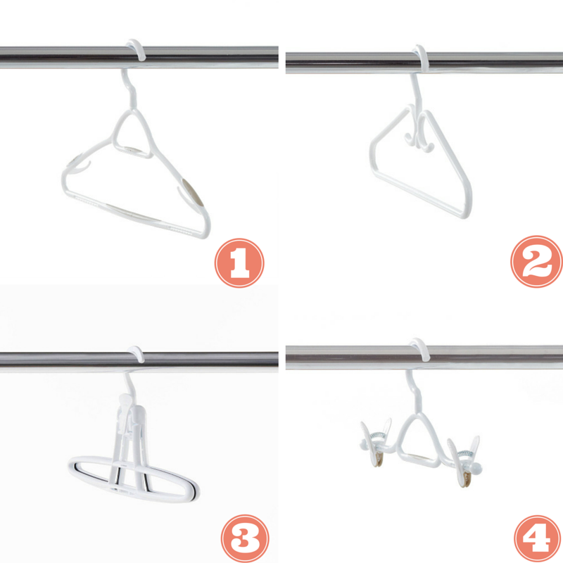 1. Non-slip hanger with swivel head and garment hooks included. 2. Coat hanger with deluxe hooks and reinforced to handle the weight of your coat. 3. Click and grip non-slip pant hanger with an inner surface that won't leave marks on your clothes and a grip made to hold different levels of pant thickness. 4. Skirt hanger with adjustable clips to keep your skits neat and easily accessible.