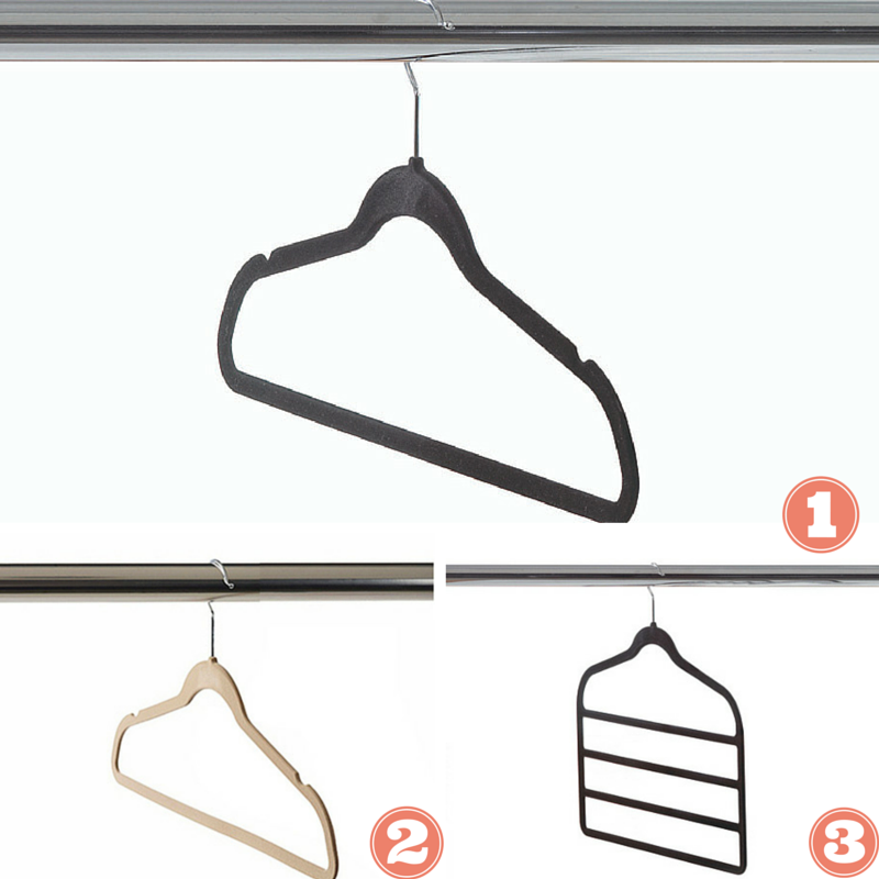1. & 2. Felt clothes hangers with non-slip shoulder notches to keep your garments in place. 3. Four tier felt pant hanger that holds up to four pants neatly in your closet or on the go.