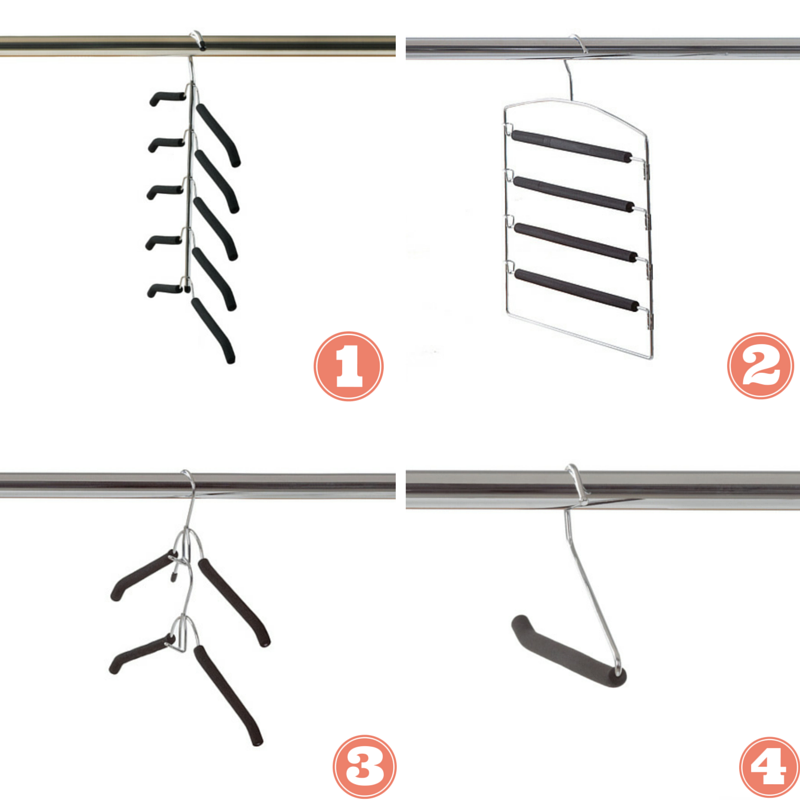 1. Five tier shirt tree maximizes your closet space while the foam grip keeps your shirts neat. 2. Four non-slip pant hanger made with steel and foam to manage and secure multiple pants. 3. Quick line clothes hanger for double the storage with the same space. 4. Non-slip foam pant hanger with open bar to make your pants easily accessible.