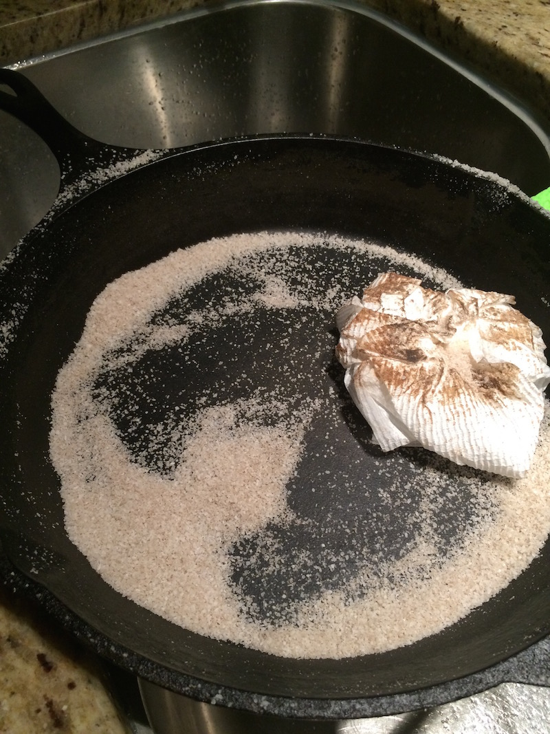 Course Kosher salt helps to dissolved baked on food and clean the pan
