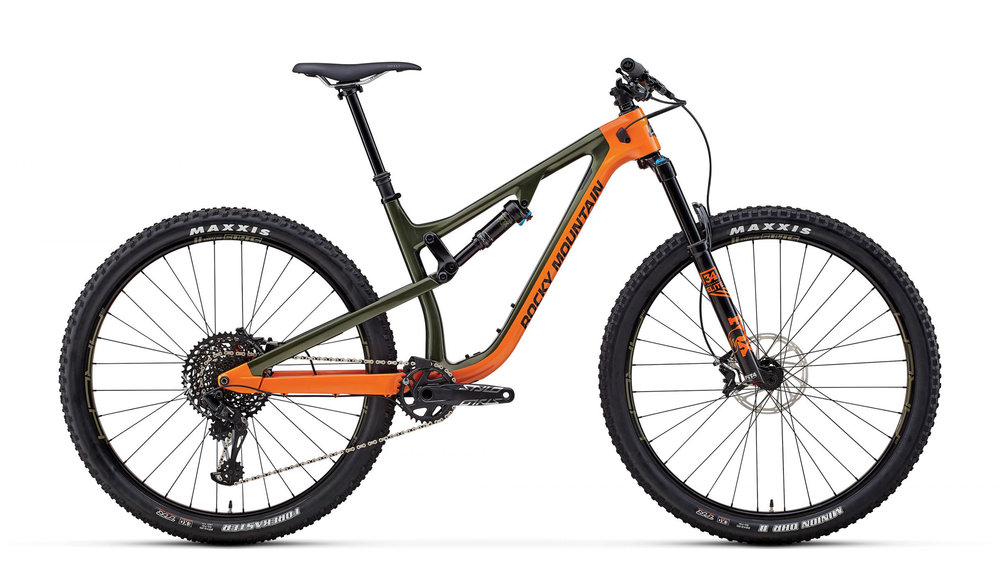 """ROCKY MOUNTAIN INSTINCT   Stable and aggressive, the Instinct is our most versatile trail bike.  With 29"""" wheels and a wide range of RIDE-9™ adjustments, the all new Instinct is available in both carbon and alloy models. An all-new frame for 2018 pushes the rear travel to 140mm, increasing stiffness and tweaking the suspension kinematics. Despite the increase in travel, the new frame has noticeably more efficient pedaling, with better small-bump sensitivity and a host of next-generation features."""