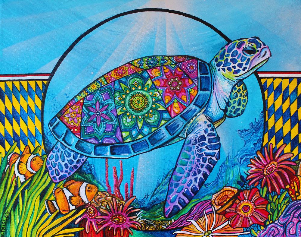 Sea turtle 2018 16X20 Acrylic Canvas